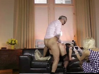 Older British dude fucks younger babes in stockings plus high heels in threesome