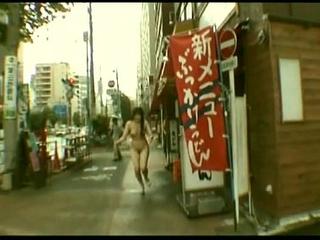 Subtitled Japanese public nudity striptease in Tokyo